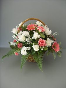 Pink & White Rose Basket - £24.00