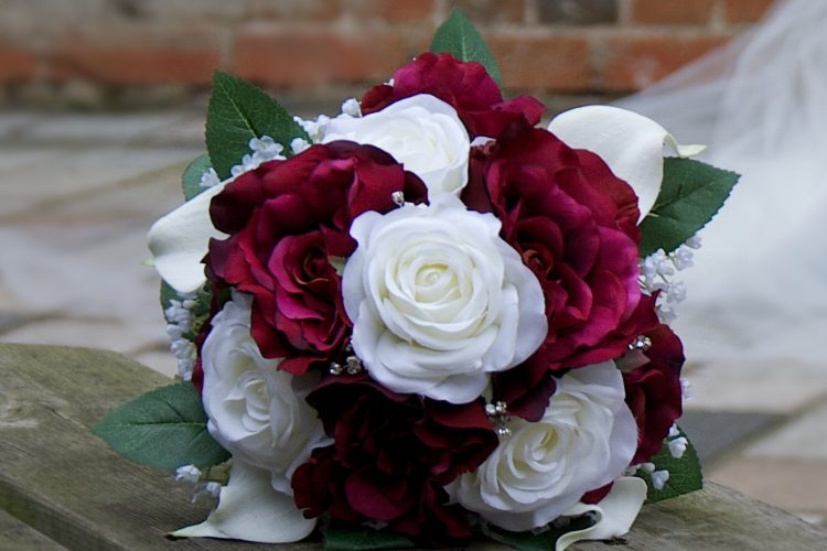 Burgundy & Cream Rose Bridal Bouquet - £84.50