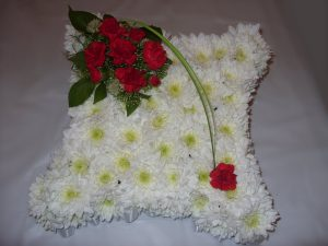 Cushion Tribute - White & Red - £40.00