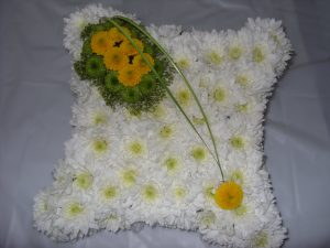 Cushion Tribute - White & Yellow - £40.00