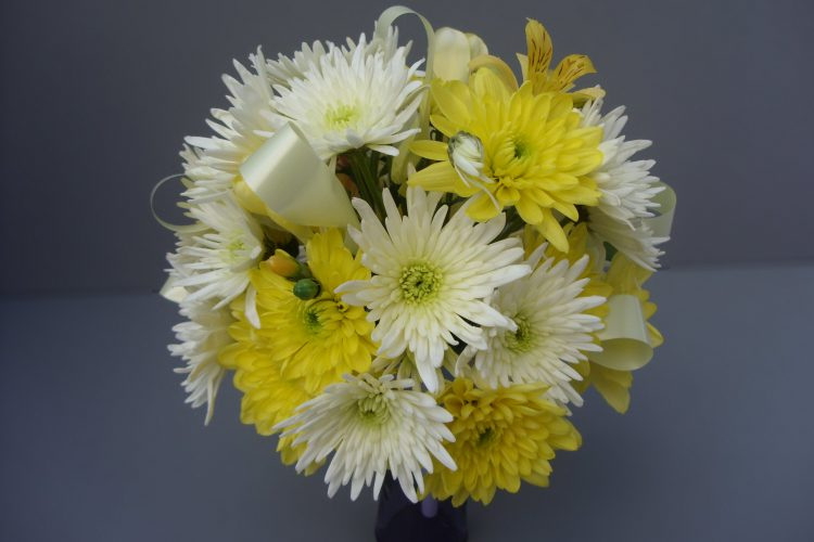 Lemon & White Chrysanthemum Posy - £42.50