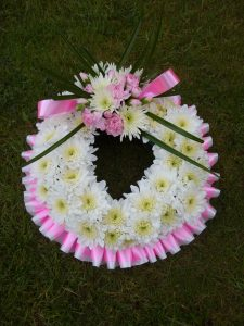 Wreath Tribute - White & Pink with Bow - £30.00