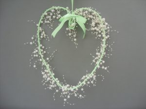 Heart Garland - Green & Cream - £10.00