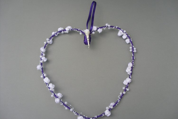 Heart Garland - Purple with White Rosebuds - £10.00