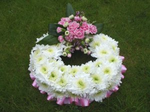 Wreath Tribute - White & Dark Pink - £35.00