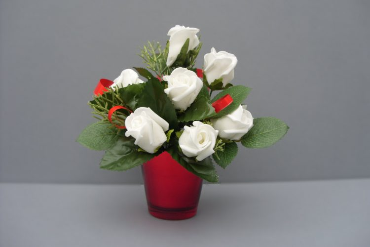 Small Red Vase with White Roses - £10.50