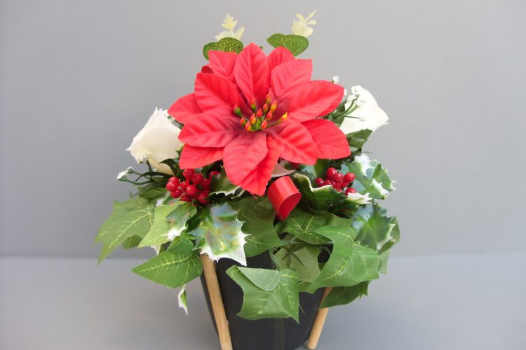 Black Planter with Red Poinsettia - £16.00