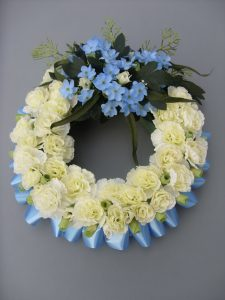 Silk Wreath - Cream & Blue - £37.50