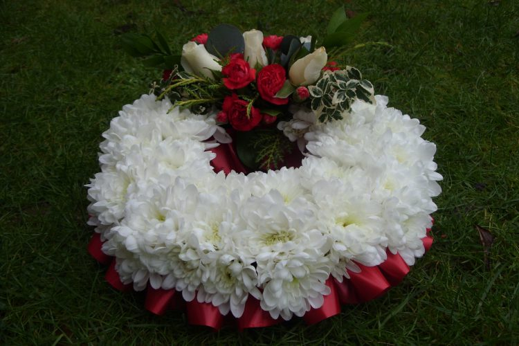 Wreath - Crysanth, Red Carnation & White Rose - £41.00
