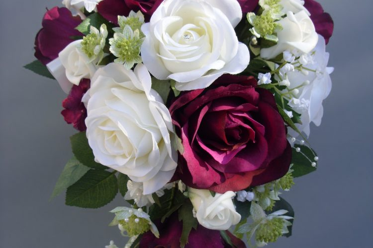 Burgundy & Cream Rose Bridal Bouquet - £90.50