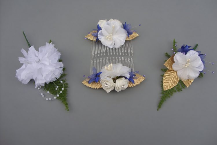 Hair Combs - £4.00 each, Boutonniere - £2.00 & Corsage - £3.50