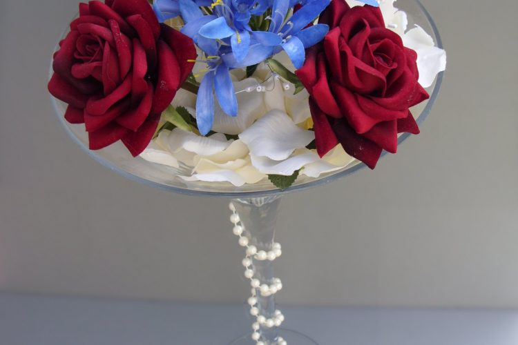 Martini Vase - Red Roses & Blue Agapanthus - £44.00
