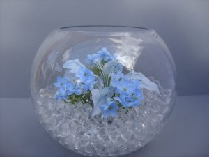 Table Decoration - Goldfish bowl with Lily, Blue Orange Flower and waterbeads - from £15.00