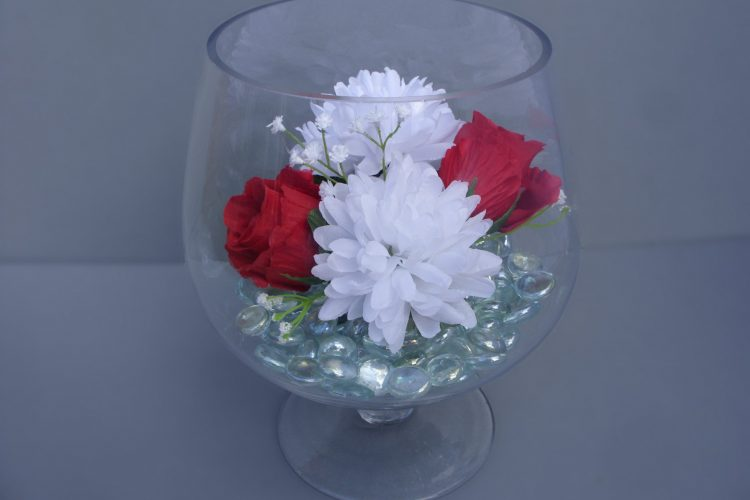 Table Decoration - Brandy Glass with Roses, Chrysanthemums, Gypsophila and glass pebbles - from £17.00