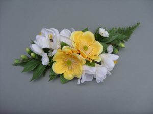 Cake Decoration - Yellow Anemone with Rose, Freesia & Asparagus Fern - from £19.00