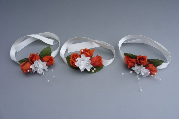 Wrist Corsage - Burnt Orange Roses on satin ribbon - from £4.50 each
