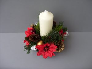 Table Arrangement - White Candle, Cones, Poinsettia & Gold Baubles - from £8.00