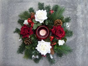Table Arrangement - Red & White Roses, Cones & Berries with Glass Tealight Holder - from £18.00