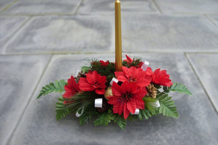 Table Centre Piece - Golden Candle, Poinsettia, Cones, Baubles & Foliage - from £15.00