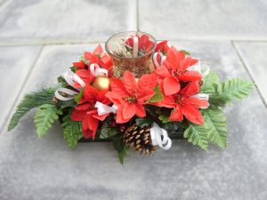 Table Centrepiece - Glass Hurricane Lamp, Poinsettia, Cones, Baubles & Foliage - from £19.00