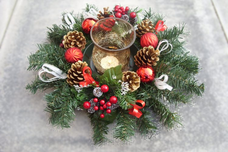 Table Centrepiece - Glass Hurricane Lamp, Cones, Berries, Baubles & Cones - from £15.00
