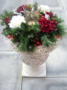 Table Arrangement - White & Red Roses, Cones, Berries & Holly with Glass Hurricane Lamp (Urn not included) - £21.00