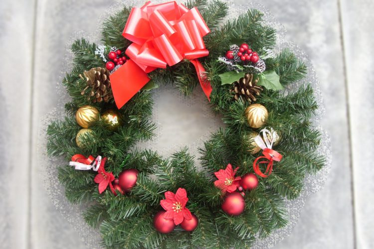 "18"" Wreath - Berry Picks, Gold & Red Baubles, Cones & Red Bow - from £15.00"