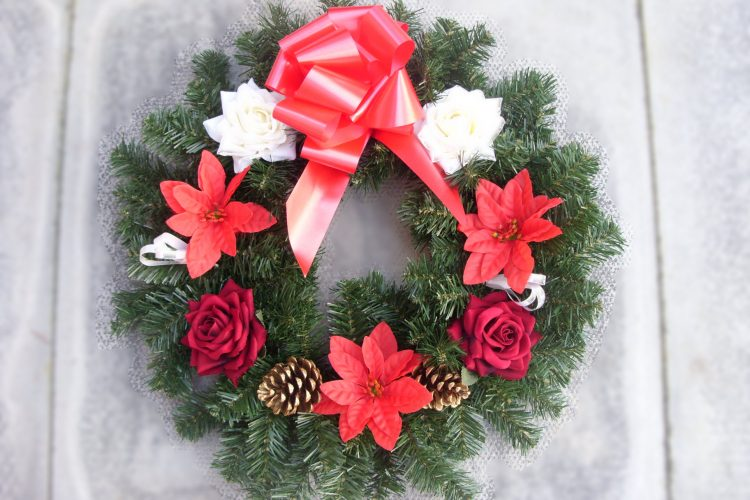 "18"" Wreath - Red & White Roses, Poinsettia & Cones & Red Bow - from £15.00"