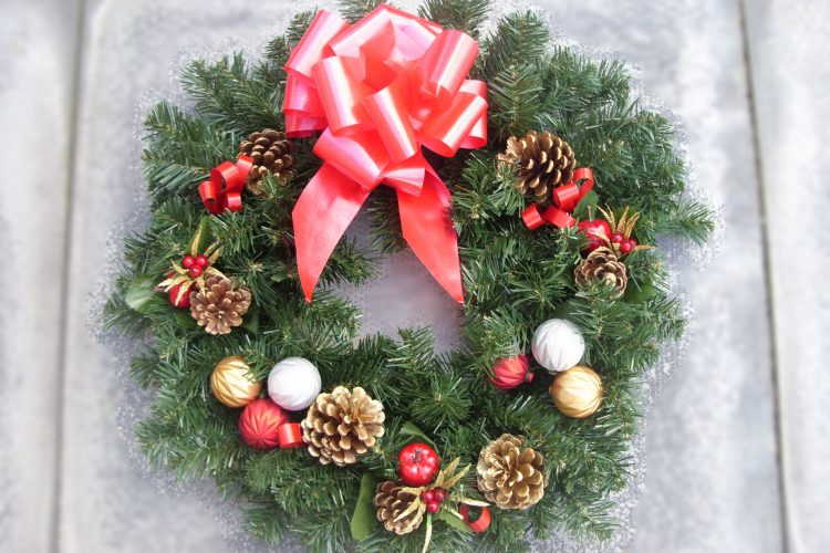 "18"" Wreath - Apple & Poinsettia Picks, Cones, Baubles & Red Bow - from £15.00"