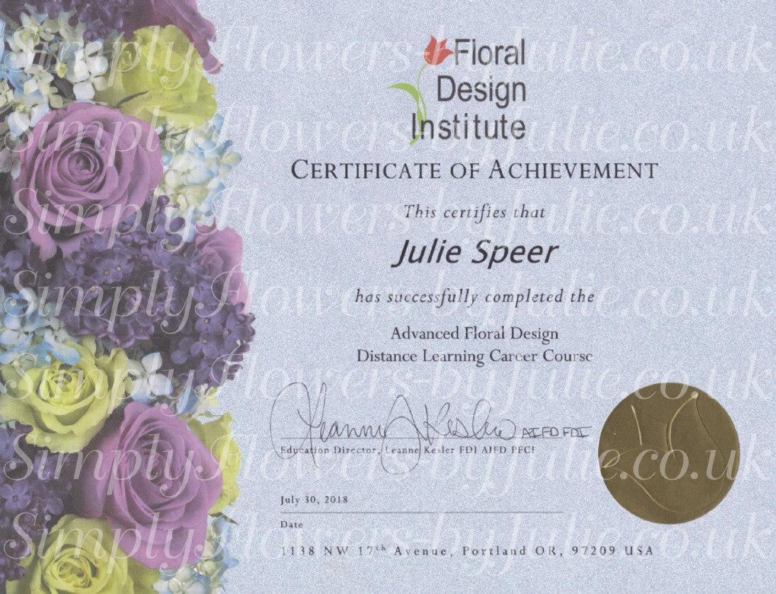Qualifications Simply Flowers By Julie